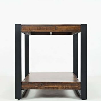 Contemporary Style Wooden End Table With Metal Framework, Brown & Black