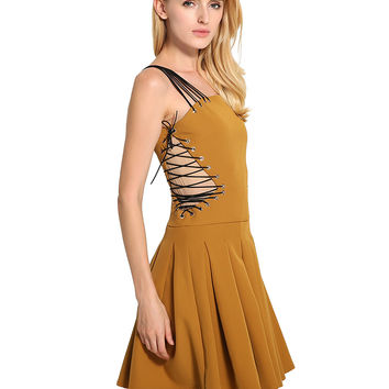 Oxpa Orange Strappy Detail Lace Up Side Skater Dress
