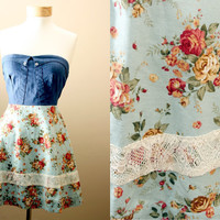 LAST ONE 40off / Floral, Strapless, Sundress, with Denim, Corset, Style Bodice (S,M,L)
