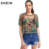 SHEIN Sexy Blouses for Women Buttoned Keyhole Botanical Embroidered Mesh Top Summer Multicolor Short Sleeve Blouse