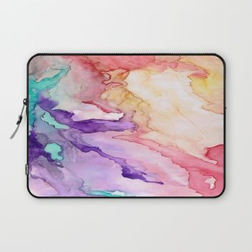 Color My World Watercolor Abstract Painting Laptop Sleeve by Rosie Brown