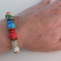 Ghanaian Beads Stretch Bracelet - Glass, Brass and Malachite