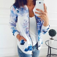 Trendy Bomber Jackets Women Zipper Casual Flower Print Baseball Basic Jacket Bomber Jackets Long Sleeve Lady Outwear Coat WS2030R AT_94_13