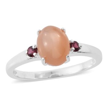 Peach Moonstone and Garnet Sterling Silver Ring
