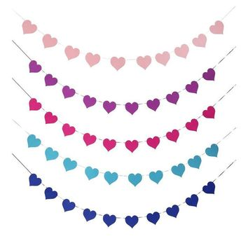 Love Heart Flag Decoration Valentine Day Party Banner