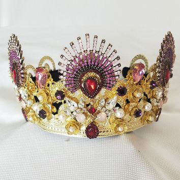 Luxurious Sparkling Gold Crystal Baroque Queen Wedding Crown Tiara Cosplay Costume