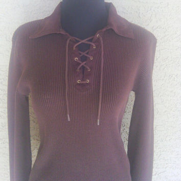 Ralph Lauren brown medium knit shirt top sweater lace up V neck long sleeves 8os vintage classic