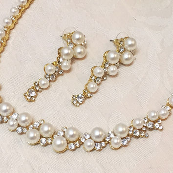 Bridal jewelry, Bridal Pearl Gold necklace and earrings, Modern vintage inspired bridal statement jewelry set, bridesmaid jewelry