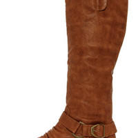 Ardie 1 Tan Buckled Riding Boots
