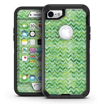 Green Basic Watercolor Chevron Pattern - iPhone 7 or 7 Plus OtterBox Defender Case Skin Decal Kit