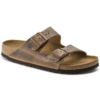 Women's Arizona Sandal in Oiled Tobacco Brown Leather with Soft Footbed by Birkenstock