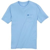 Embroidered Pocket Tee Shirt in Sky Blue by Southern Tide