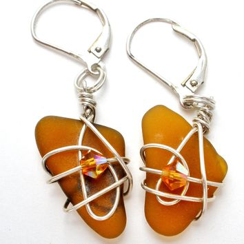 Citrine Wrapped Sterling Silver Earrings