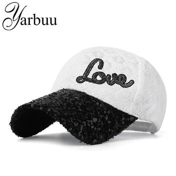 [YARBUU]Baseball caps with Sequins Design snapback Brand cap new fashion casquette bone hat for women Female Lace sun cap
