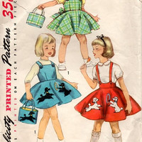 Simplicity 1746 Sewing Pattern 50s Girls Rockabilly Style Jumper Dress Poodle Circle Skirt Handbag School Bag Overall Toddler Size 6