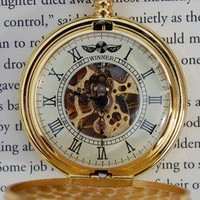 Golden Roman Timekeeper Wind-Up Pocket Watch | Wicked Clothes