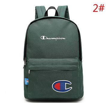 Champion Fashion New Embroidery Logo Letter Women Men Backpack Bag Green