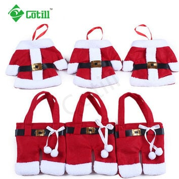 6Pcs lot Christmas Decorations 2016 Silverware Holdersanta Pockets Dinner Decor Knife Fork Holders Santa Claus Merry Christmas