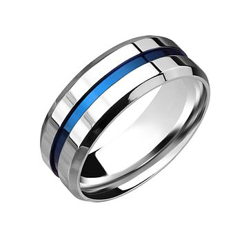Blue Groove - Men's Stainless Steel Blue Ion Plated Grooved Center Line Ring