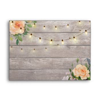 Rustic Wood Peach Rose Floral String Light Wedding Envelope
