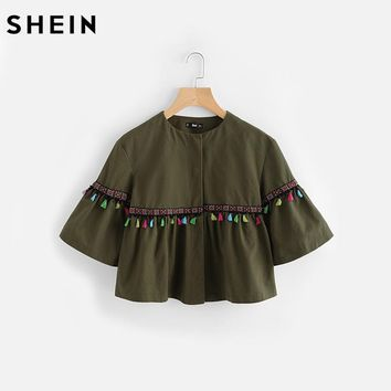 SHEIN Flare Sleeve Tassel and Embroidered Tape Detail Jacket Autumn Green Jackets Coats Womens Single Breasted Collarless Jacket