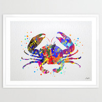 Crab Sea Life Watercolor illustration Art Print,Wall Art Poster,Home Decor,Wall Hanging,Wedding Gift,Motivational/Inspirational Art,No 71