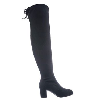 Life30 Faux Suede Thigh High Boots - Womens Winter Pull On Chunky Block Heels
