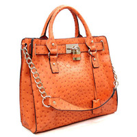 ANDORA OSTRICH SATCHEL - Orange