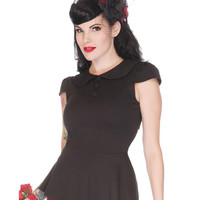 Voodoo Vixen Black Peplum Retro Top