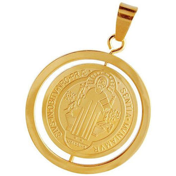 Saint Benedict medal unisex pendant in gold stainless
