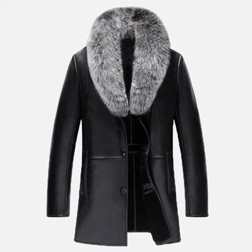 New Real Fox fur collar V-Neck Men Long Style Sheep leather Male Fur Solid Color Outerwear Coat Thick Warm Parkas MZ1152