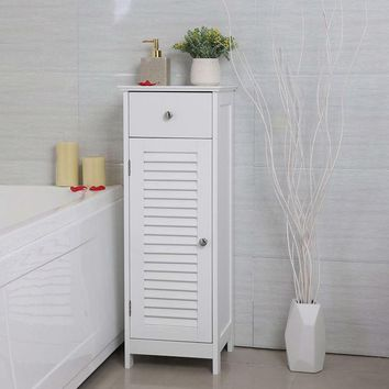 White Slim Bathroom Storage Floor Cabinet