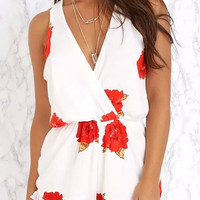 Floral V Neck Sleeveless Ruffled Rompers