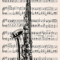 FREE SHIPPING WORLDWIDE Saxophone on a Vintage by VintageLite