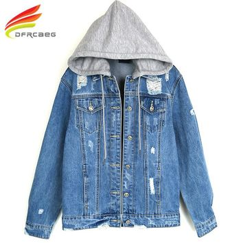 Trendy New 2018 Spring Hooded Denim Jacket Women New Fashion Cool Hole High Quality Denim Coat Woman Jeans Jackets With Double Pockets AT_94_13