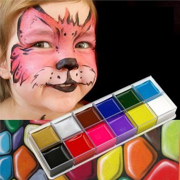 12 Flash Colors Case Temporary Tattoo Face Body Paint Kid Face Painting
