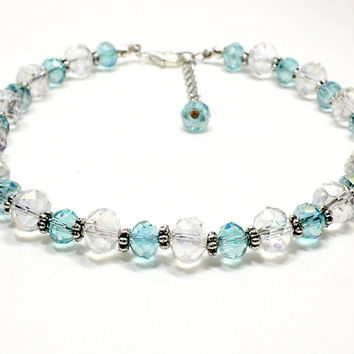 Crystal Dog Collar. Crystal Cat Collar. Light Blue Crystal and Clear Crystal Bead Collar with Silver Accents. Sapphire Blue and White Beads