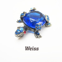 Weiss Turtle Brooch Blue Glass Crystal rhinestone