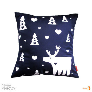 Navy Blue Moose Pillow 13 Inches Square