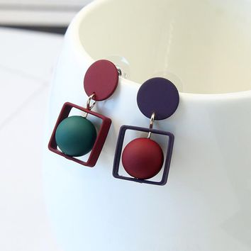 Punk Fashion Round Geometric Asymmetric Square Red Green Beads Dangle Earring Women Party Jewelry Pendientes Brincos