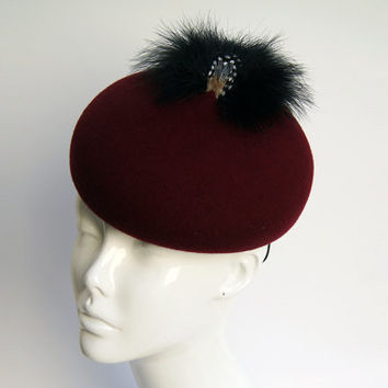 Maroon Cocktail Hat -  Pillbox Fascinator Hat with Feathers -  Vintage hats