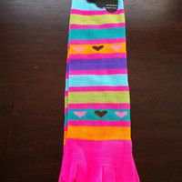 Pink Toe Socks with Stripes and Colorful Hearts