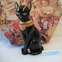 Lenox Black Egyptian Cat Figurine Bastet 1995 24K Gold Trimmed