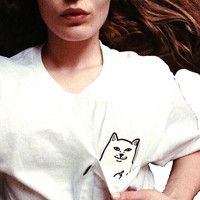 Cat Flipping Off in Pocket Tee