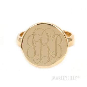 Monogrammed German Silver Taylor Ring | Marley Lilly