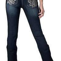 Miss Me® Womens Dark Wash Silver Fleur De Lis with Paisley Embroidery & Crystals Open Pocket Boot Cut Jeans