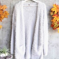 Free People - Fuzzy Faux Fur Cardi - Silver Cloud
