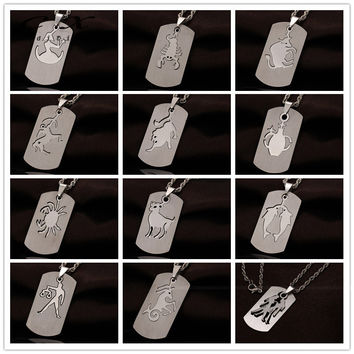 Stainless Steel Zodiac Dog Tag Pendant Men's Women's Necklace Chain Constellation Pendant