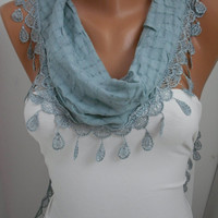 Soft Blue Shawl Scarf - Headband - Cowl with Lace Edge Spring Trends