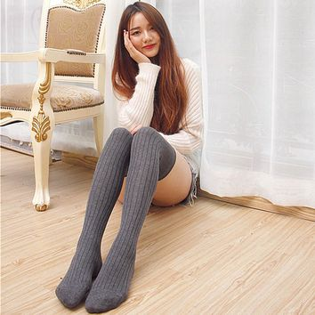 Women Over Knee High Knitting Stretch Cotton Thick Socks 0919-95